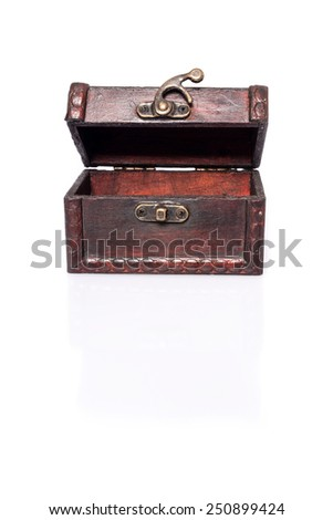 Treasure Chest : Half opened empty wooden chest with reflection and shadows on white background - stock photo