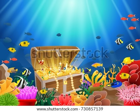 treasure chest underwater background stock illustration 730857139