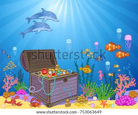 treasure chest underwater background stock illustration 753063649
