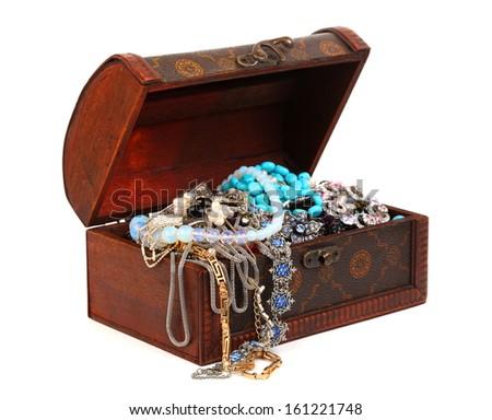 Treasure chest isolated on white - stock photo