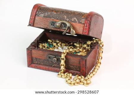 Treasure chest on a white background.