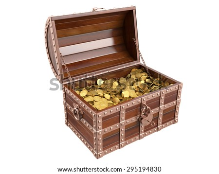 Treasure chest on white background. 3D image
