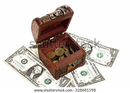Treasure chest,the box of money,coins and dollars,found treasures,cash drawer,scattered money,dollars in the trunk,lots of money,the savings in foreign currency,cash savings,money in cash - stock photo