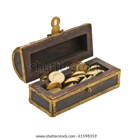 Treasure chest with doubloon