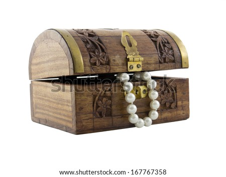 Treasure Chest with Pearls isolated over white background  - stock photo