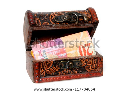 Treasure chest with Swiss Francs in front of a white background