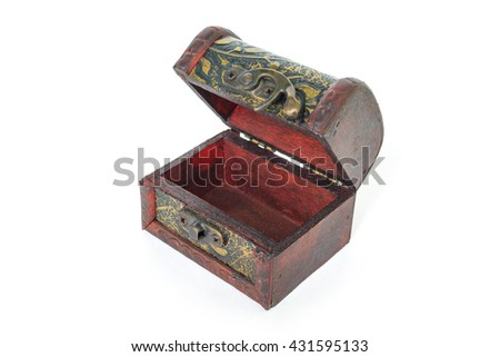 treasure chest wood old vintage empty on white background