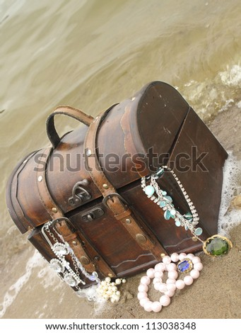Treasure founded on land - stock photo