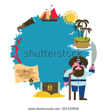 Treasure island composition with pirate Raster version - stock photo