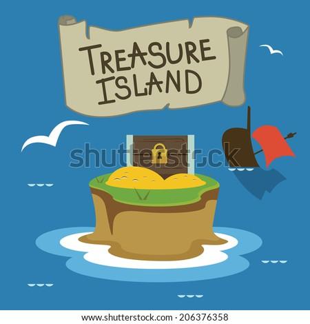 Treasure island  Raster version - stock photo