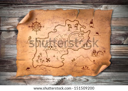 treasure map, on wooden grunge background  - stock photo