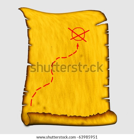 treasure map to an ancient scroll - stock photo