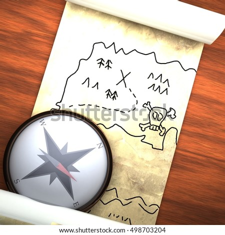Treasure map with compass, over wooden table, 3d render