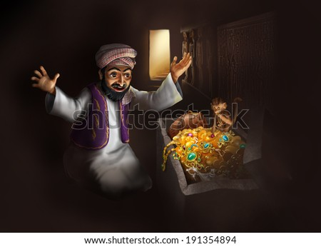 Treasure of Egypt - Arabic man in traditional clothing discovering treasure chest with gold artifacts - funny cartoon illustration - stock photo