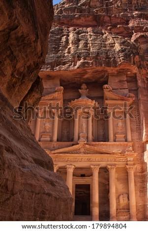 Treasury building in Petra, Jordan - stock photo