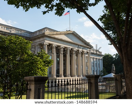 Treasury Building in Washington, D.C. is  the headquarters of the United States Department of the Treasury. An image is featured on the back of the United States ten-dollar bill. 1836-1869. - stock photo