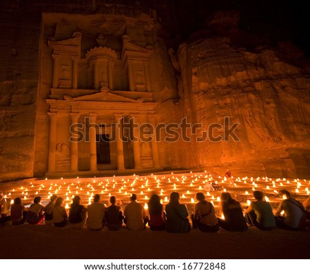 Treasury during night walk Petra Jordan - stock photo