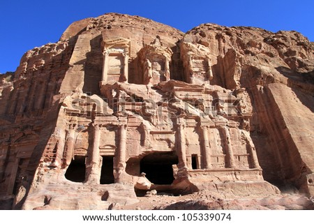 Treasury in ancient city of Petra in Jordan. It was carved out of a single rocks. It is now an UNESCO World Heritage Site. Petra, Jordan - stock photo