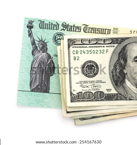 Treasury tax check with cash. - stock photo