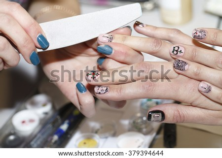 treatment manicure close up, beauty industry and body care