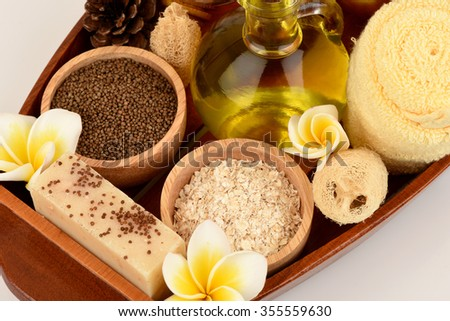 Treatments skin from Perilla seeds, Perilla Oil, Oats and Honey, spa with hand soap for healthy skin.  - stock photo