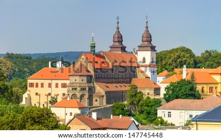 Trebic, old monastery and St. Procopus Basilica (a UNESCO world heritage site), Czech Republic - stock photo