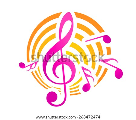 Treble clef musical themed icon, over a yellow and pink circular motif with music nots - stock photo