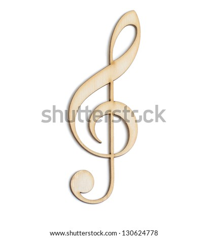 Treble clef Wooden sign - isolated on white background - stock photo