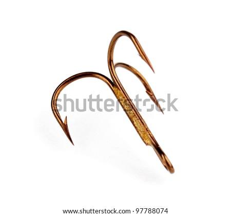 Treble fish hook isolated on white - stock photo