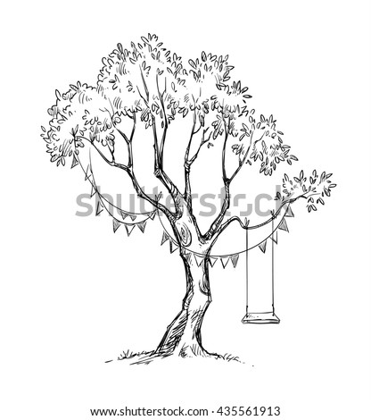 Tree and swing sketch.
