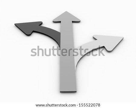 Tree arrows rendered black and white concept isolated - stock photo