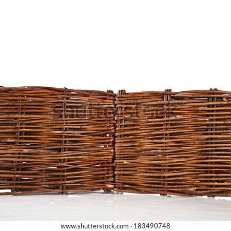 tree bars fence for garden flowers isolated on white background - stock photo