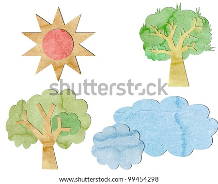 Tree canopy is made from recycled paper. - stock photo
