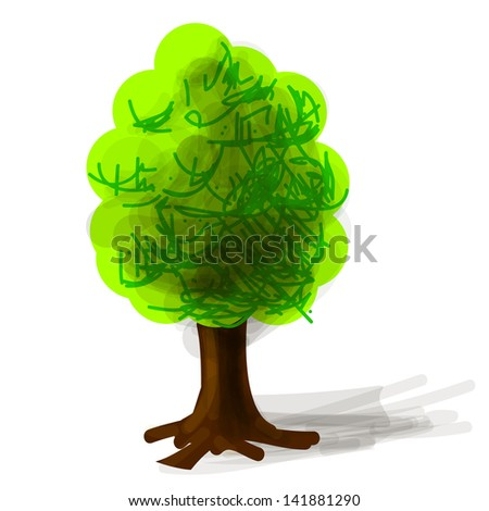 Tree cartoon icon - stock photo