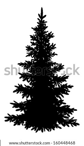 Tree, Christmas fir tree, black silhouette isolated on white background. - stock photo