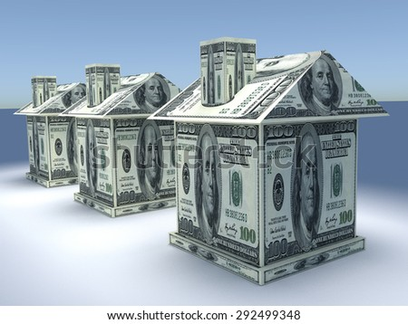Tree 3d houses from the money dollars. Business concept - stock photo
