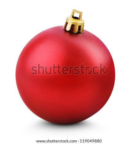 Tree decoration - Red christmas ball isolated on white with clipping path - stock photo
