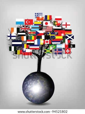 Tree Flags with Earth Globe - stock photo