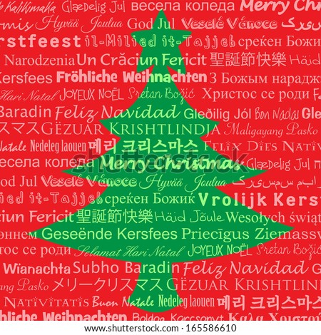 Tree formed by different Translations of Merry Christmas - stock photo