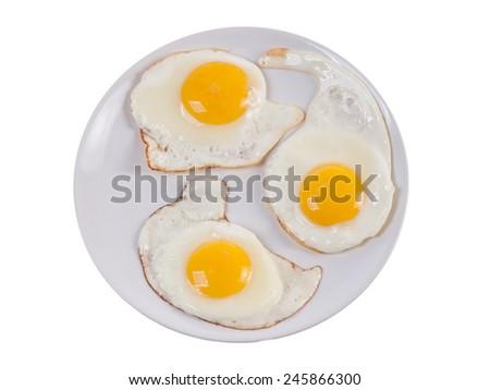 Tree fried eggs - stock photo