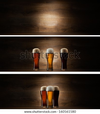 tree glass beer on wood background with copyspace - stock photo
