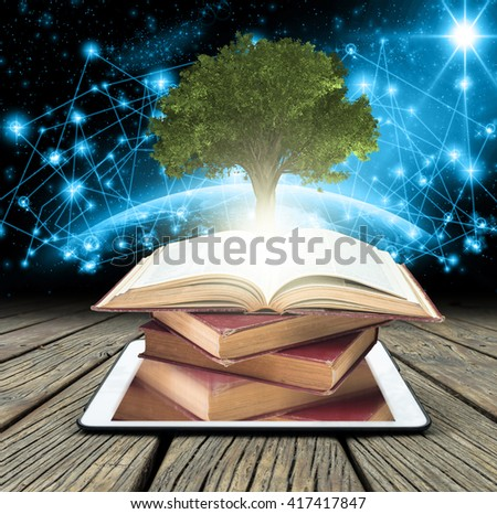 Tree growing from the old books over tablet on Part of earth with network line and point on the star and dark background, Education and knowledge with technology concept