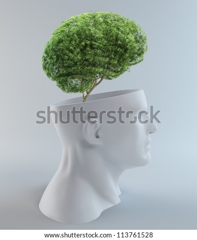 Tree growing out of an abstract  head - creativity and psychology concept illustration - stock photo