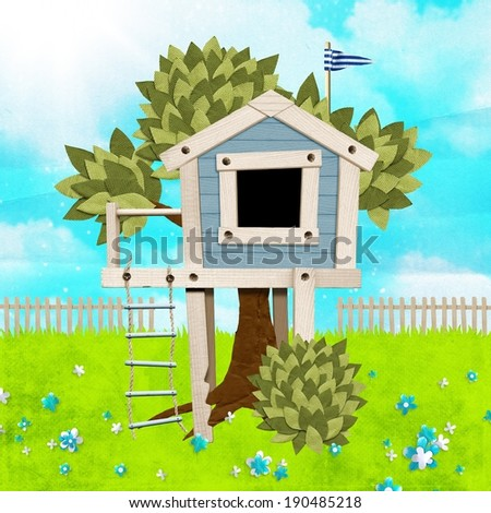 tree house on paper background - stock photo