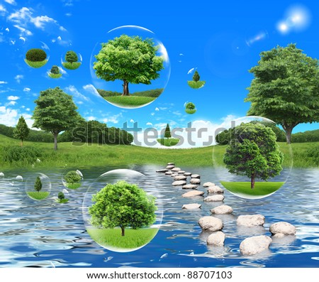 Tree in a bubble. ecology concept - stock photo