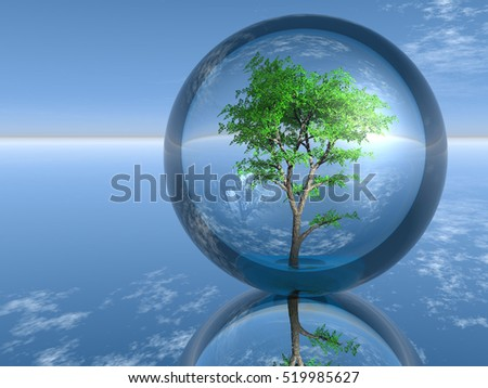 tree in a glass bubble 3D illustration