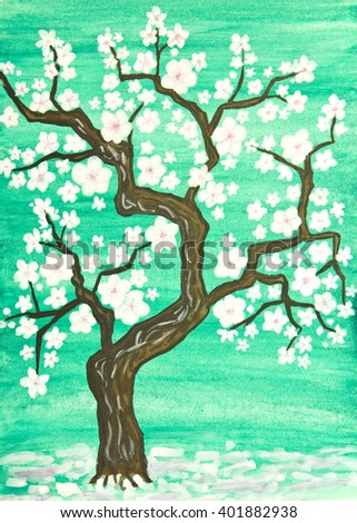 Tree in blossom with white flowers, painting in traditions of old Chinese art, gouache on watercolor background. - stock photo