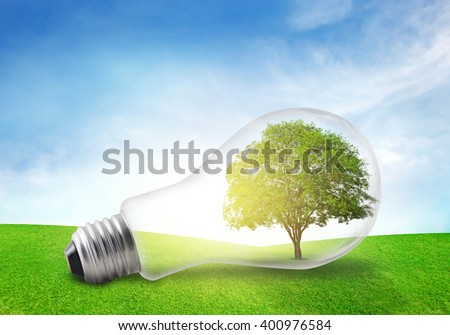 Tree in electric bulb on grassland. Eco energy concept.
