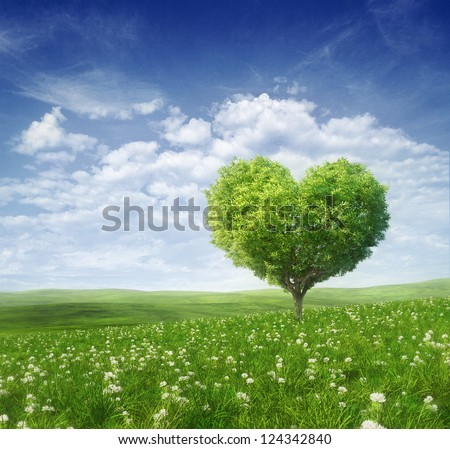 Tree in the shape of heart, valentines day background, - stock photo