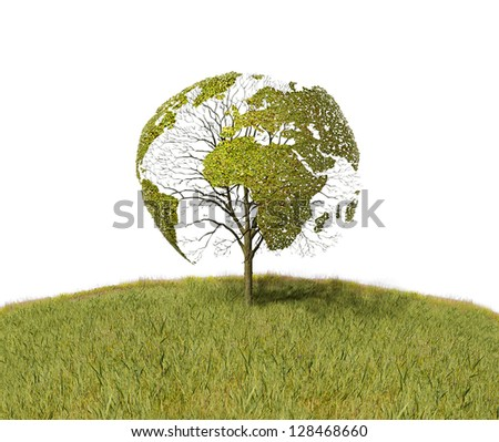 Tree like the World map - stock photo